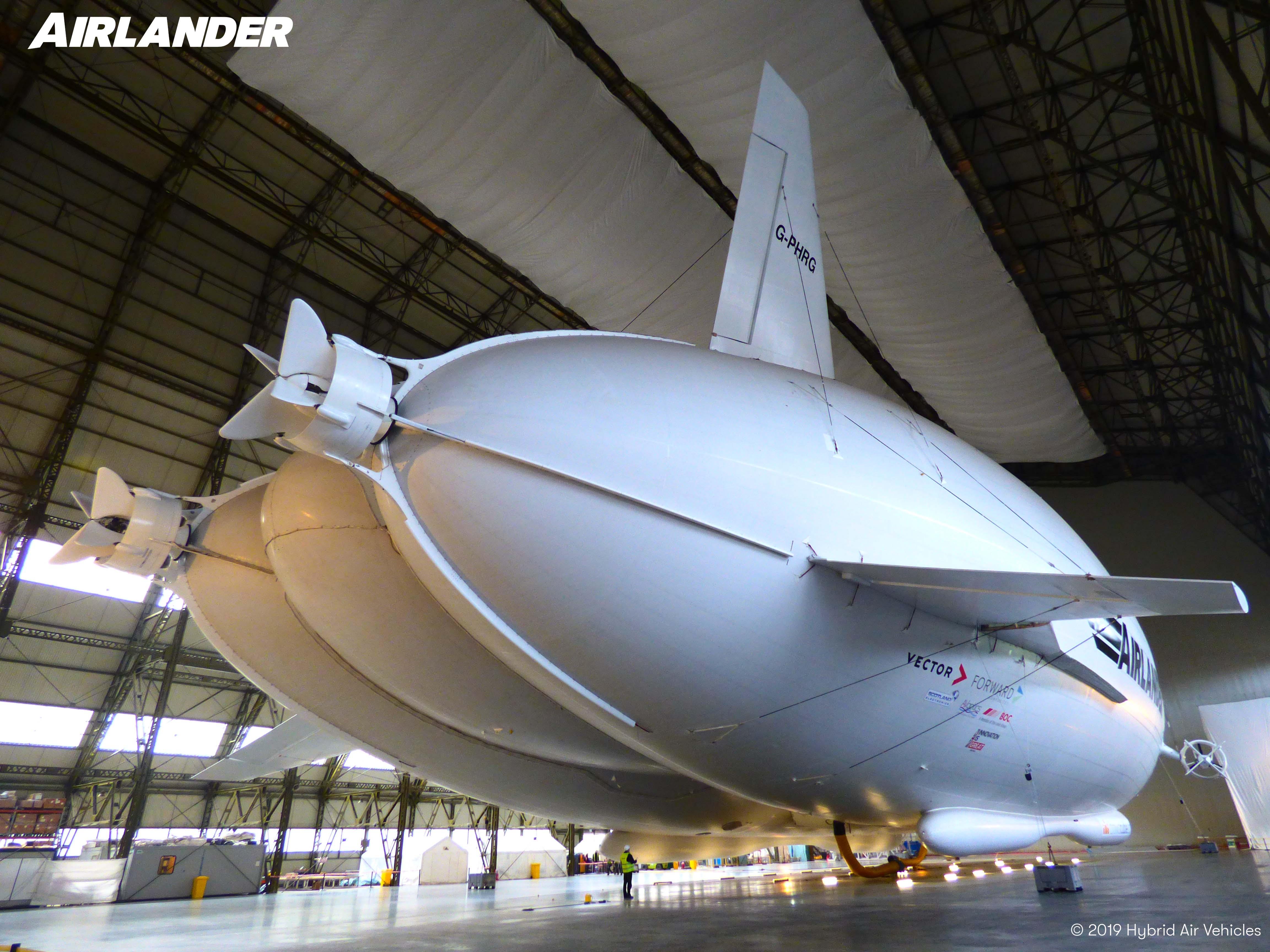 Den brittiska Airlander-prototypen använder teknik som hämtats från olika luftskepp, helikoptrar och flygplan med fasta vingar.