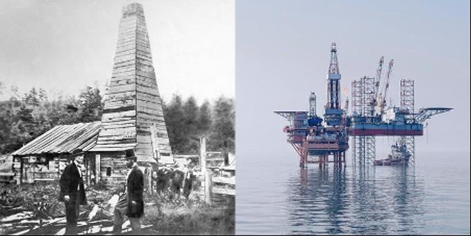 första oljekällan och dagens oljeplattform