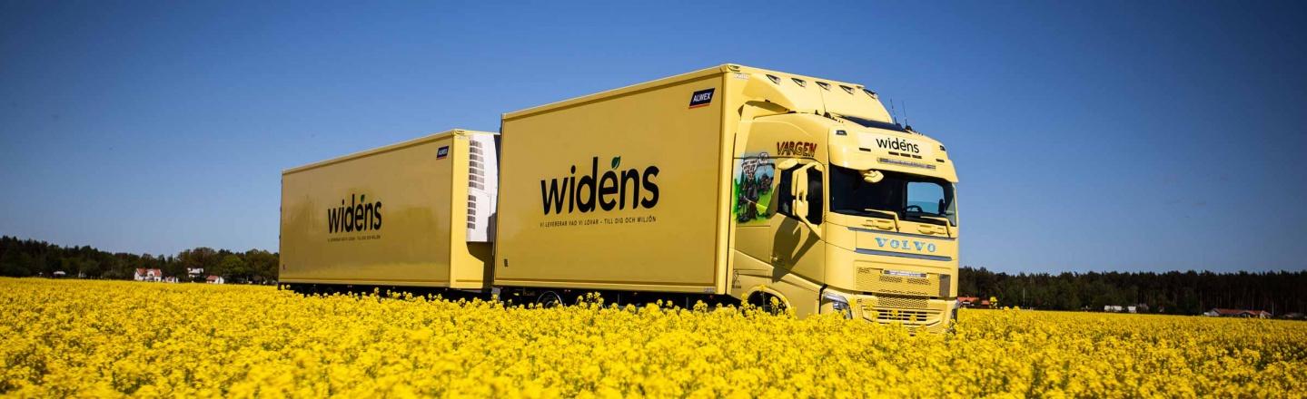Widens gula lastbil vid ett gult blomfält