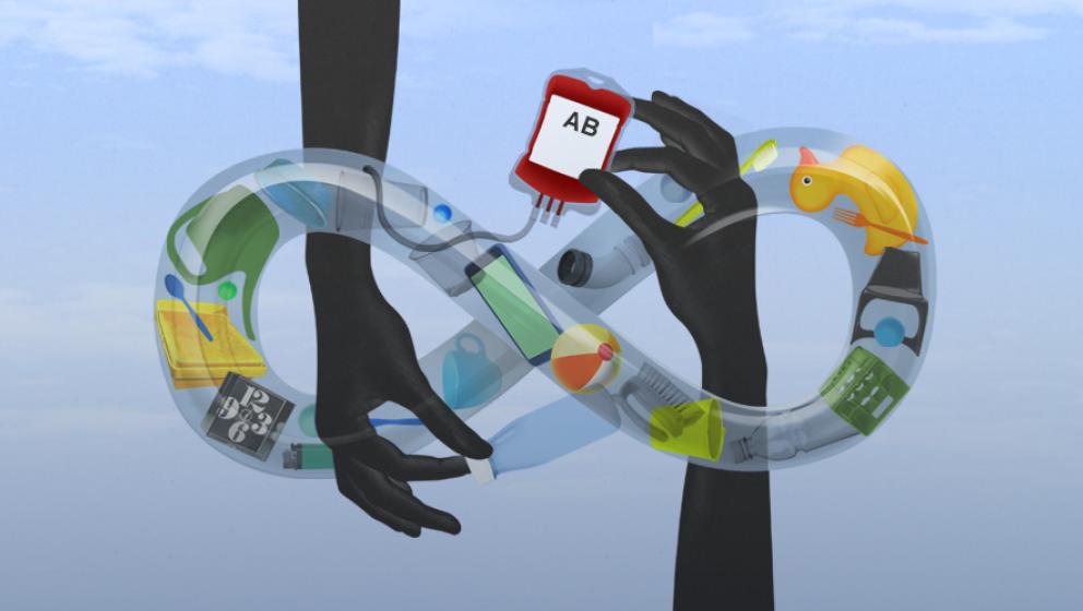 illustration, händer inuti evighetstecknet full med plast produkter, händer håller en påse med blodgruppen AB